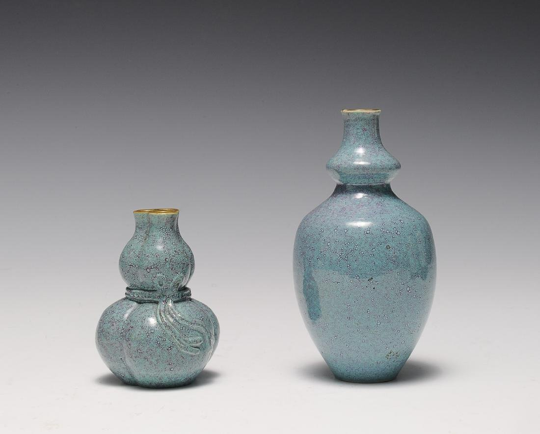 Two Robin's Egg Blue Vases, 19th - 20th Century