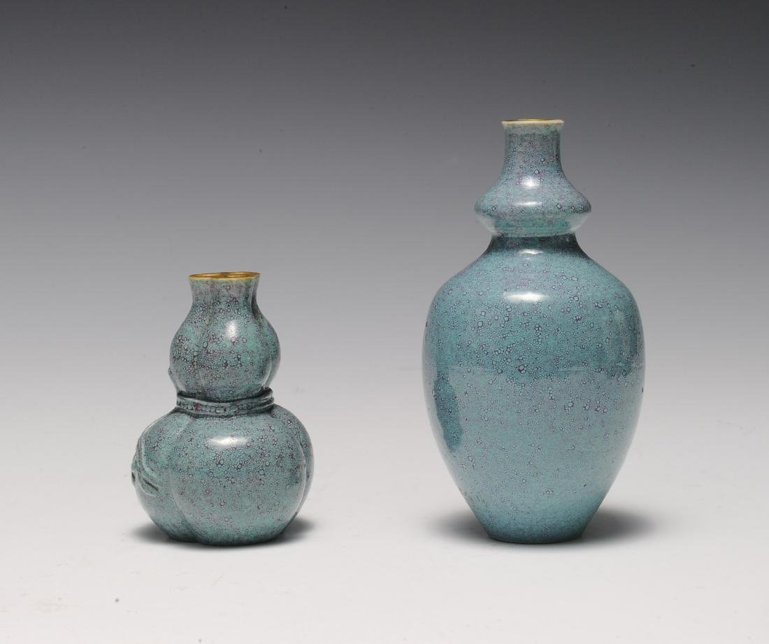 Two Robin's Egg Blue Vases, 19th - 20th Century - 2