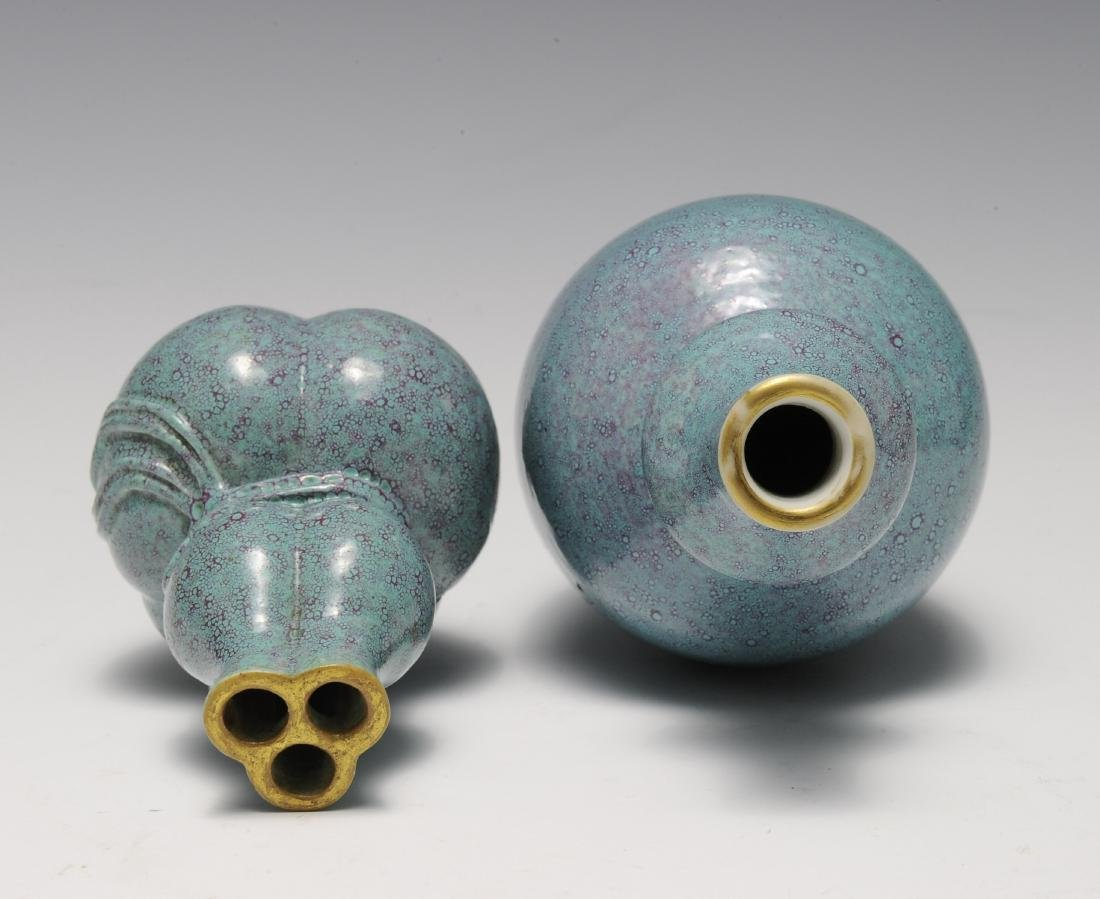 Two Robin's Egg Blue Vases, 19th - 20th Century - 5