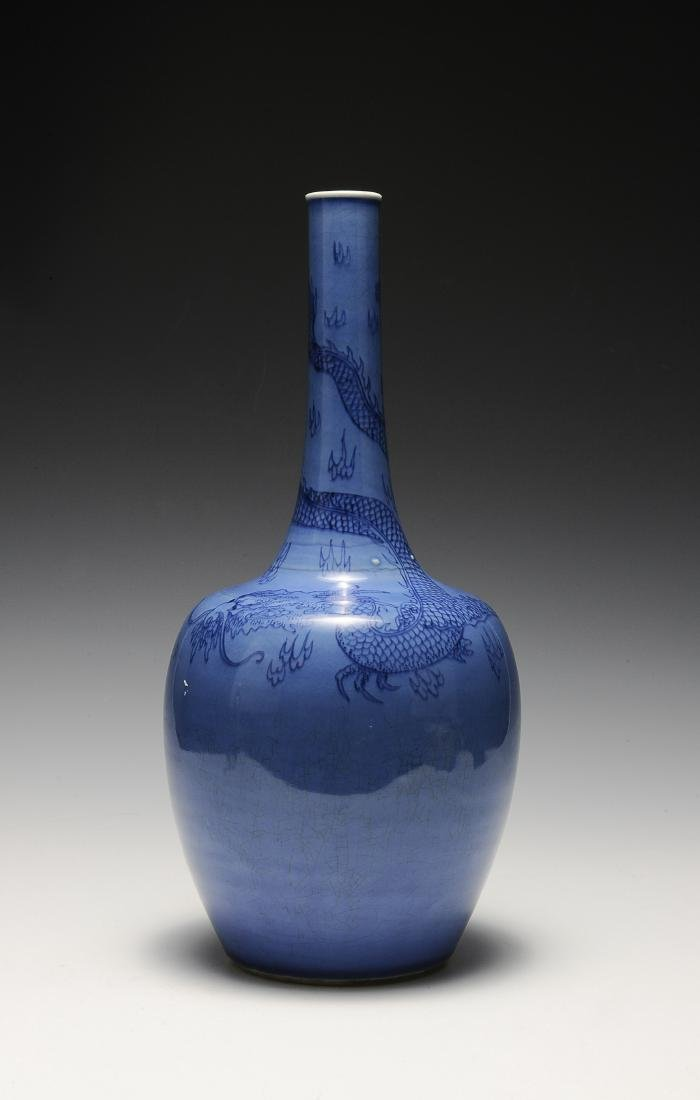 Blue Stick Neck Vase, Kangxi Period