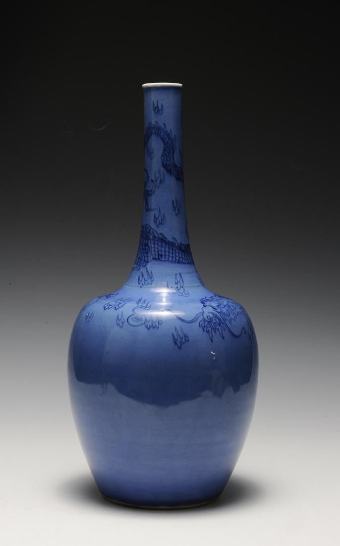 Blue Stick Neck Vase, Kangxi Period - 2