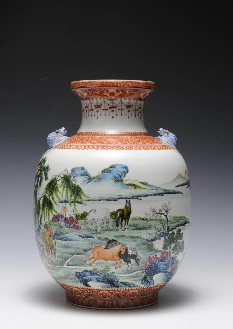 Famille Rose Vase with Bat Handles, Republic Period - 3