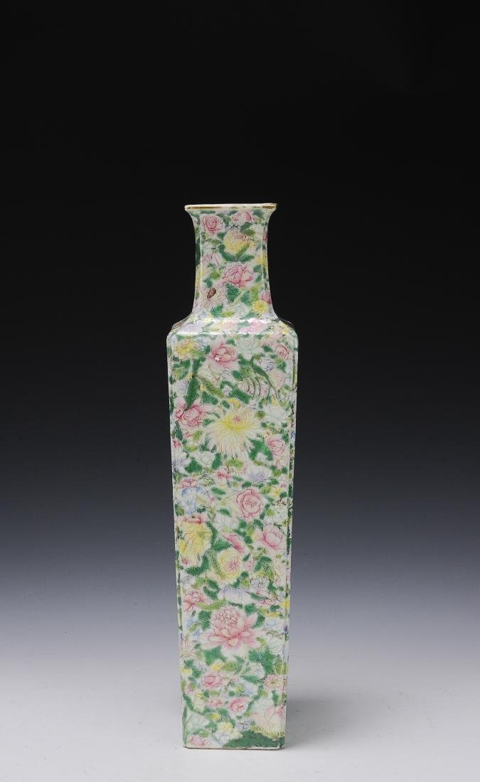 Square Famille Rose Vase, Republic Period