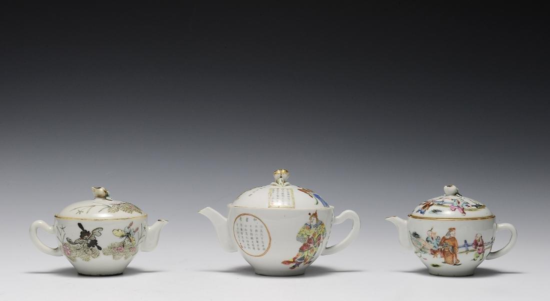 Trio of Famille Rose Teapots, 19th Century