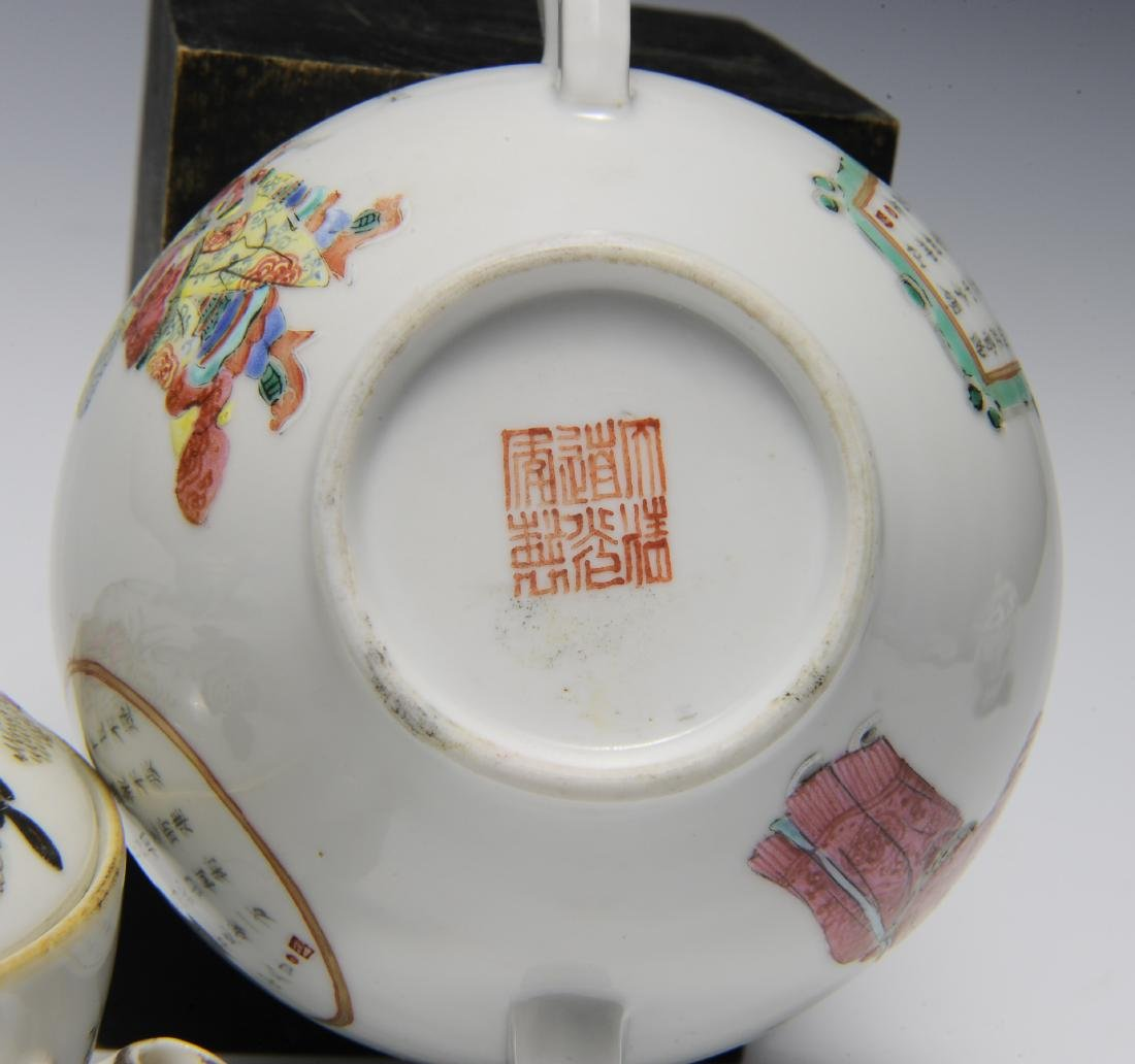 Trio of Famille Rose Teapots, 19th Century - 5