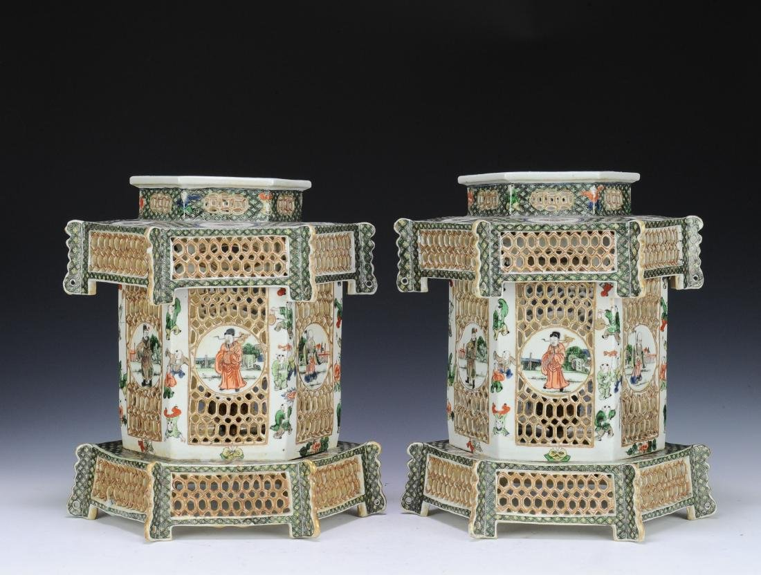 Pair of Famille Verte Lanterns, Late Qing Dynasty - 2