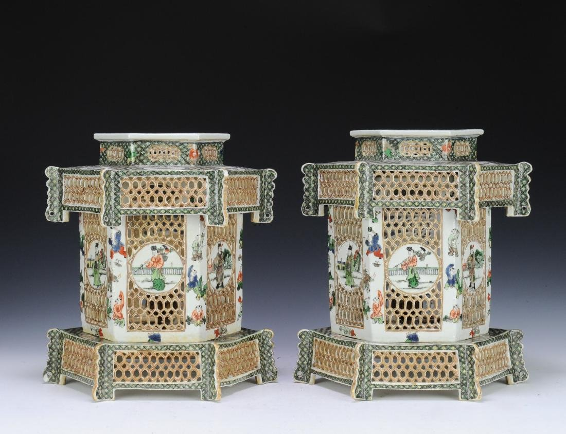 Pair of Famille Verte Lanterns, Late Qing Dynasty - 3