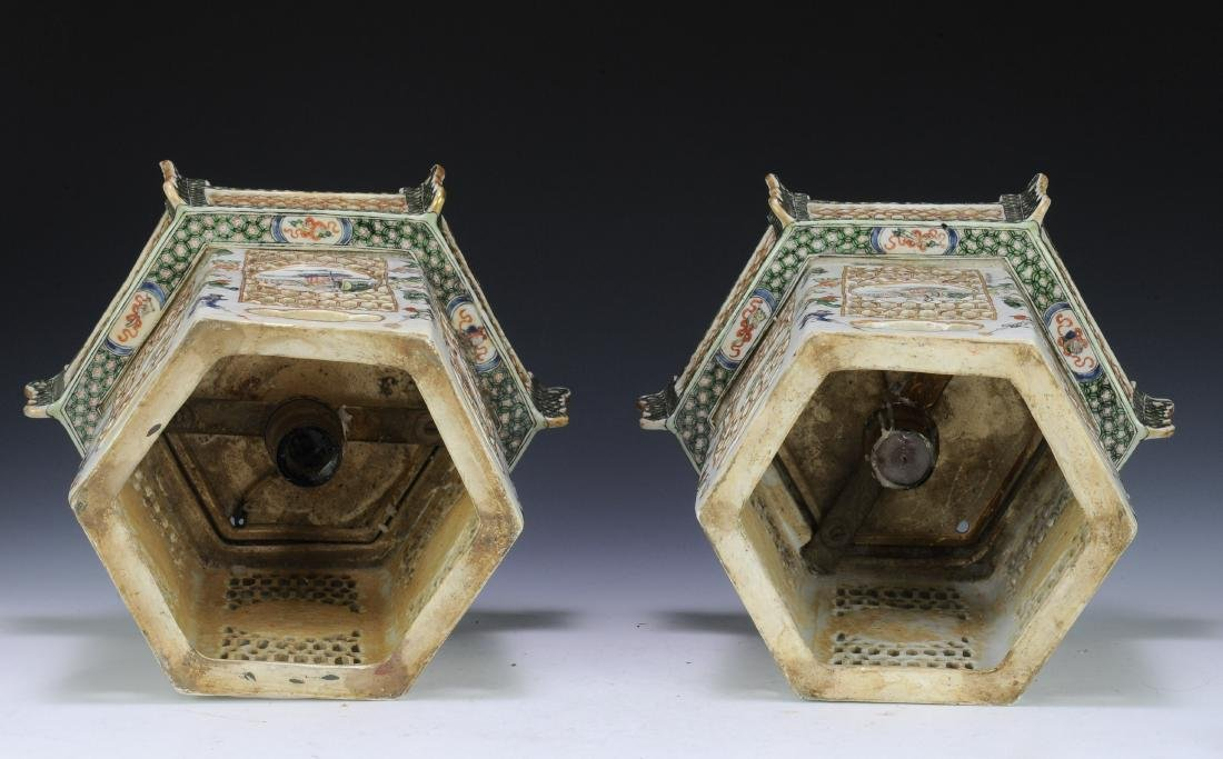 Pair of Famille Verte Lanterns, Late Qing Dynasty - 4
