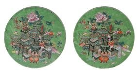 Pair of Round Famille Rose Plaques, Late 19th Century