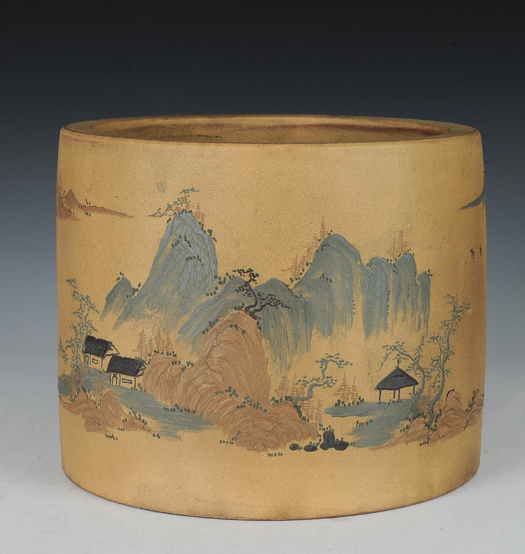 Yixing Brush Pot with Enameling, Republic Period