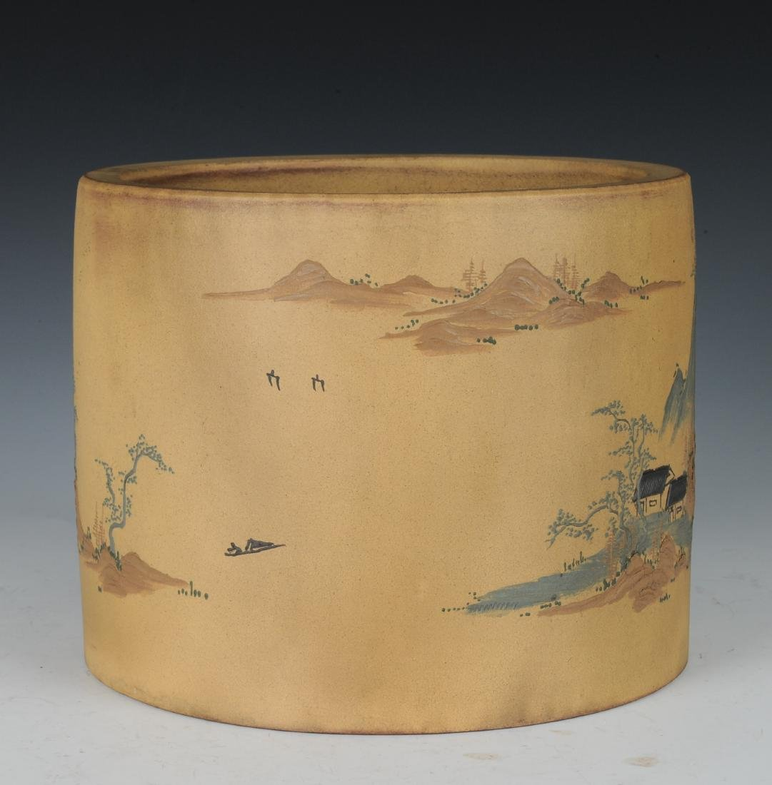 Yixing Brush Pot with Enameling, Republic Period - 2
