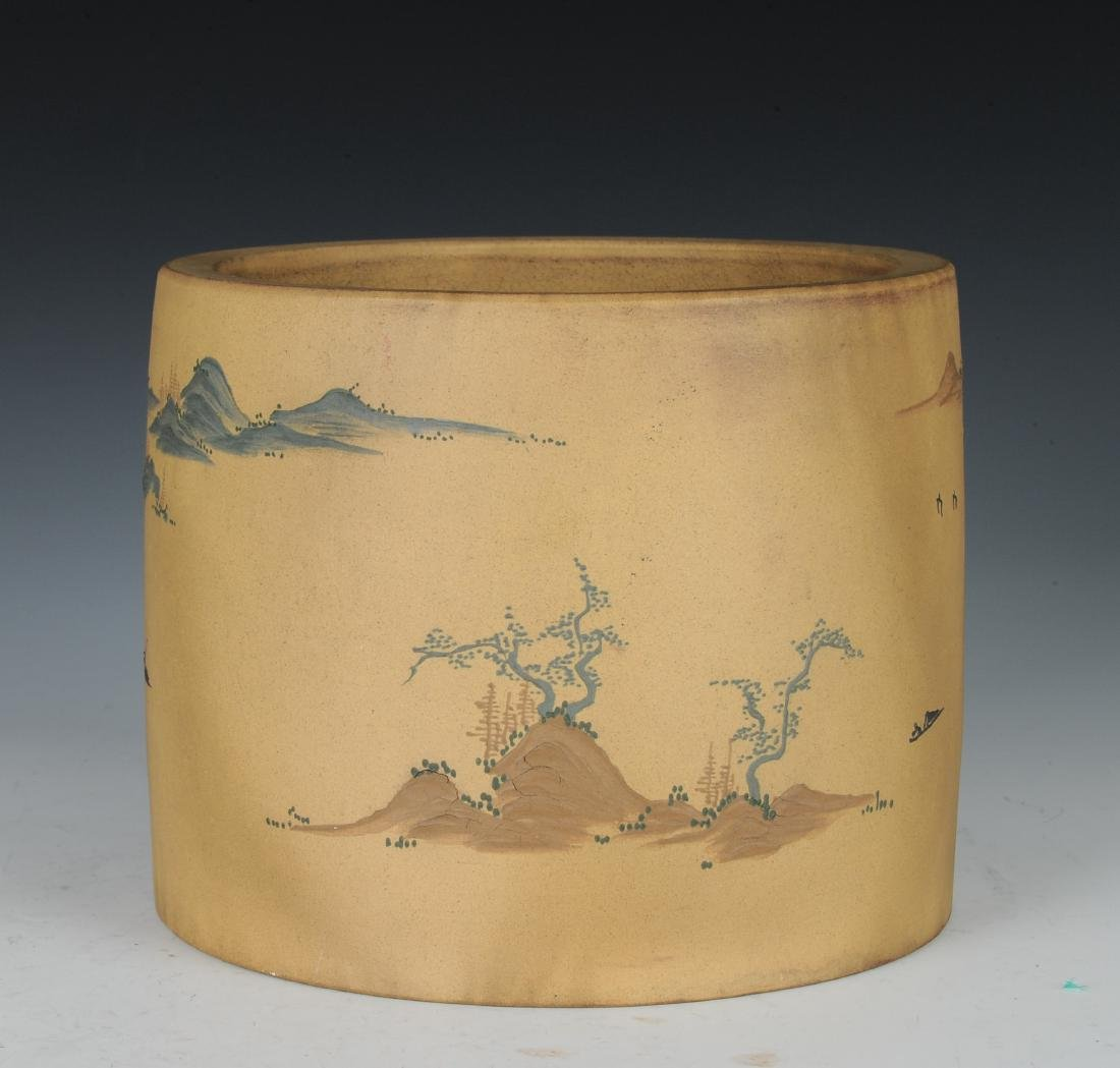 Yixing Brush Pot with Enameling, Republic Period - 3