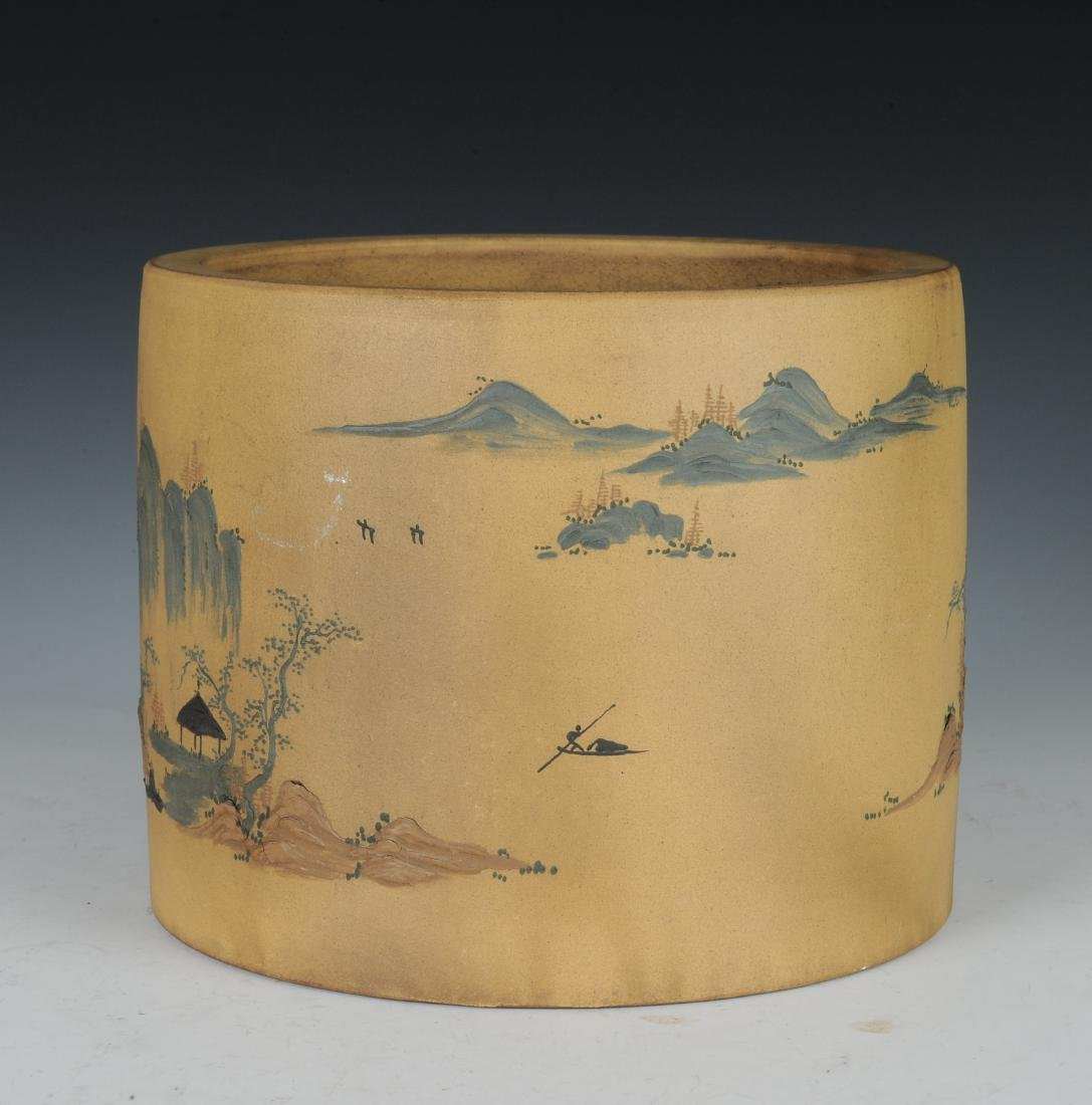 Yixing Brush Pot with Enameling, Republic Period - 4