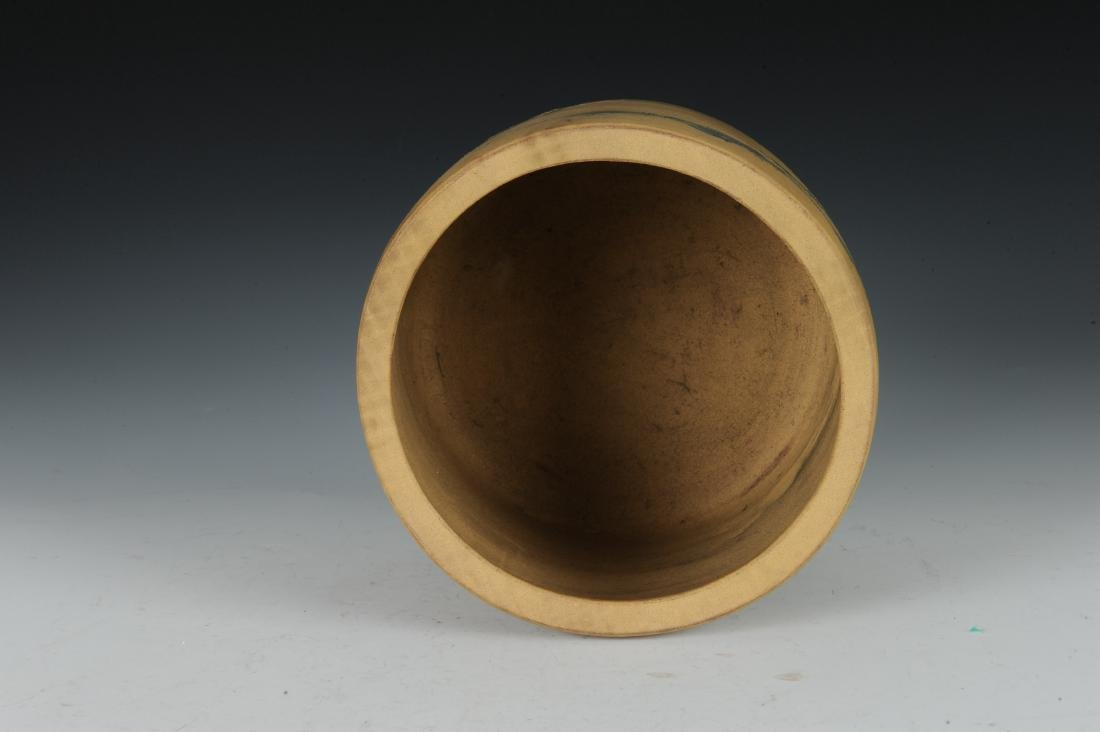 Yixing Brush Pot with Enameling, Republic Period - 5