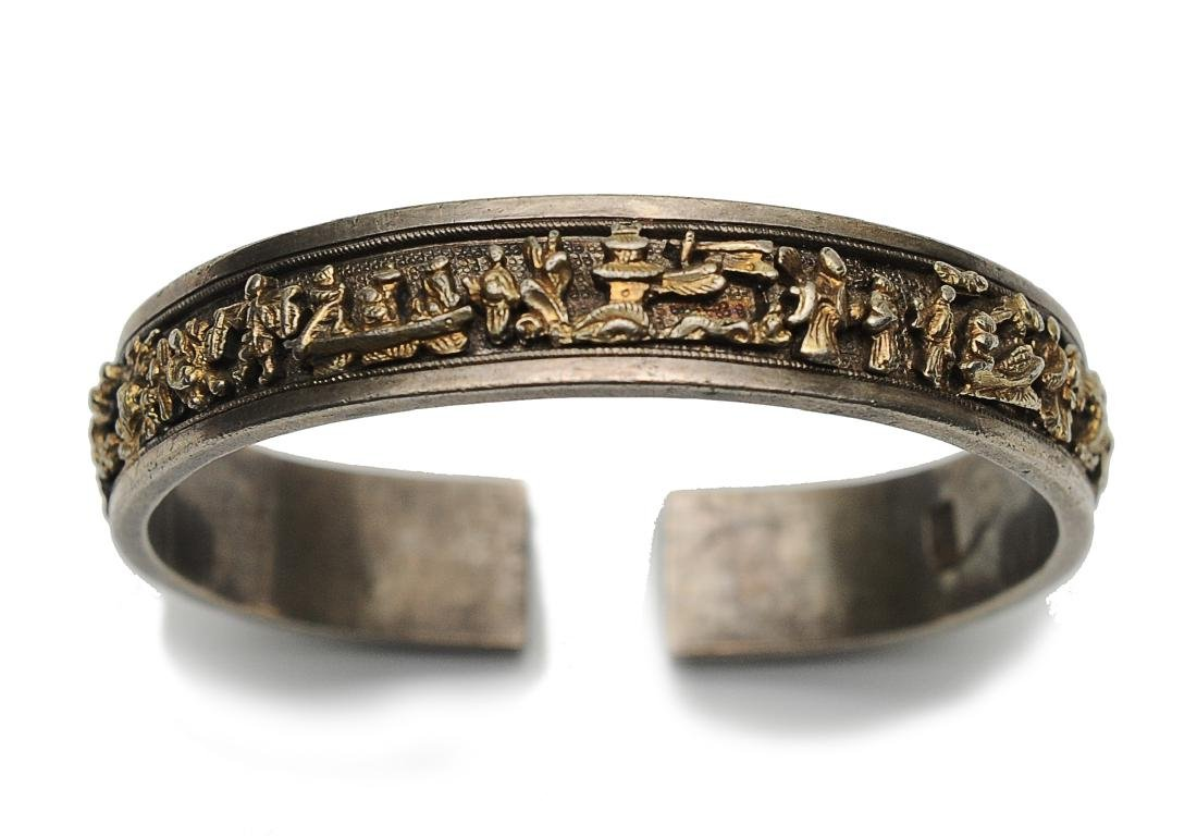 Silver Gilt Bracelet of People, 19th Century