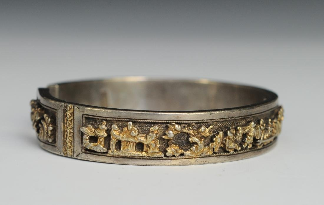Silver Gilt Bracelet of People, 19th Century - 2