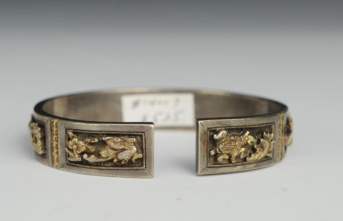 Silver Gilt Bracelet of People, 19th Century - 3