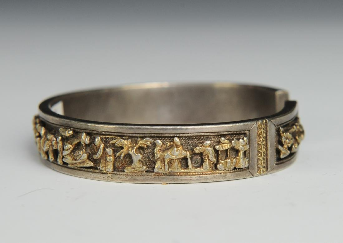 Silver Gilt Bracelet of People, 19th Century - 4