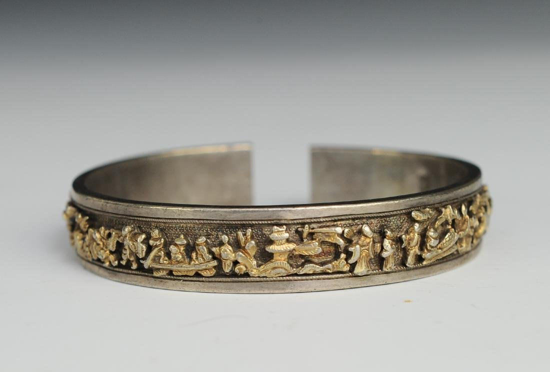 Silver Gilt Bracelet of People, 19th Century - 5
