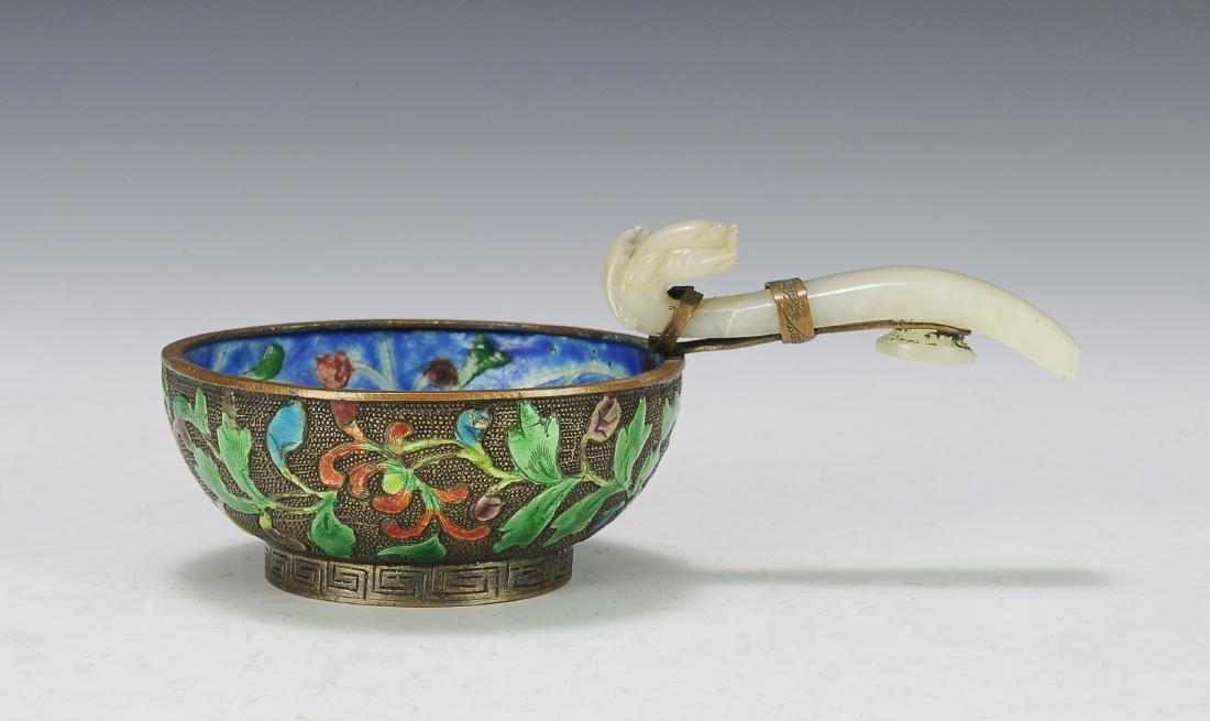 Enameled Bowl with Jade Handle, 19th Century