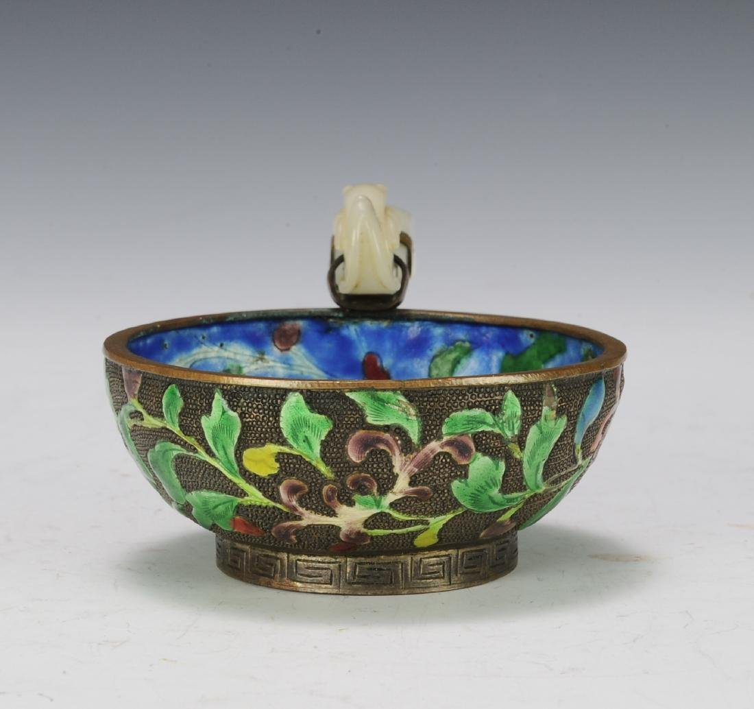 Enameled Bowl with Jade Handle, 19th Century - 2