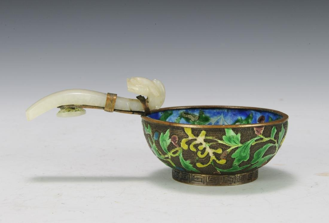 Enameled Bowl with Jade Handle, 19th Century - 3