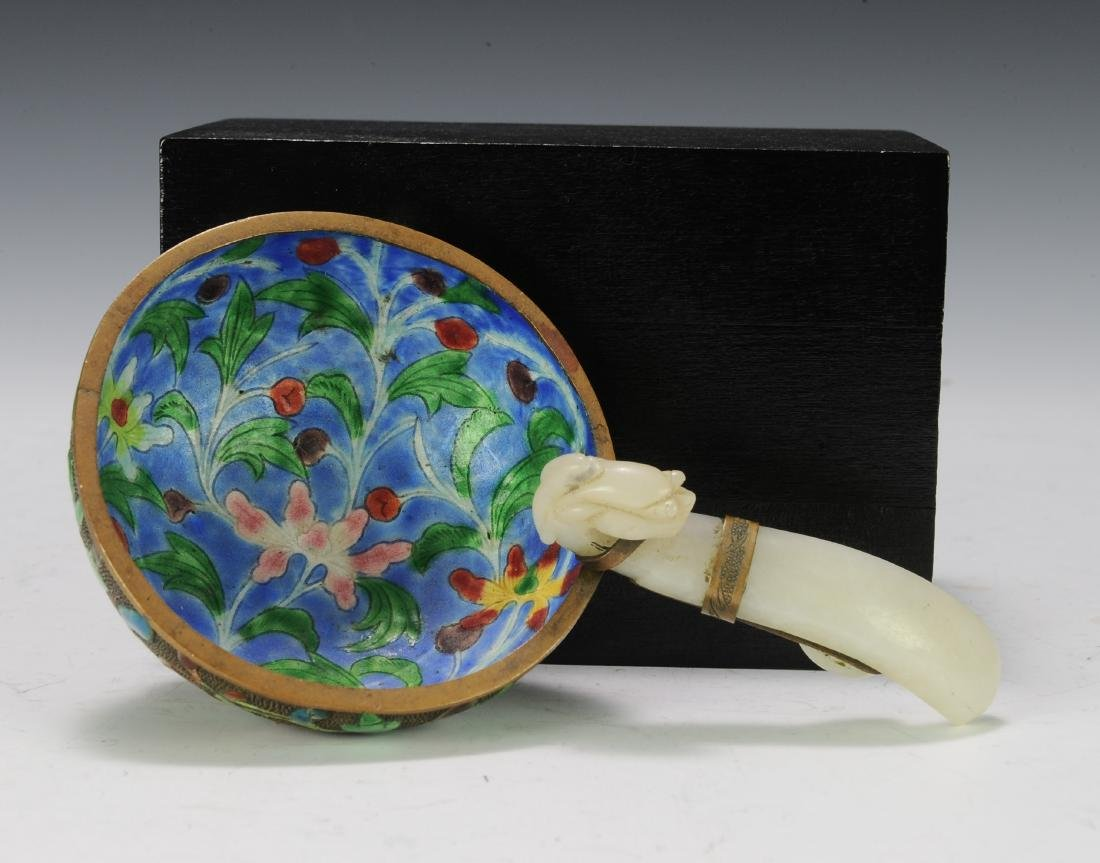 Enameled Bowl with Jade Handle, 19th Century - 5