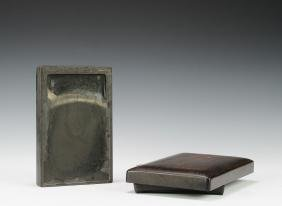 Ink Stone with an Old Rosewood Box, 19th - 20th Century