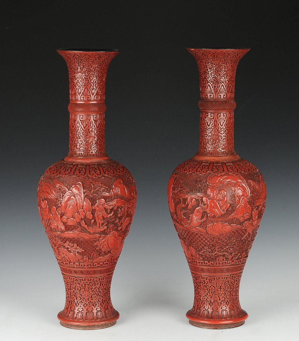 Pair of Cinnabar Vases, 19th Century
