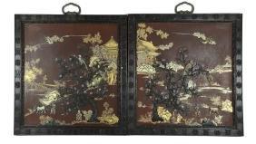 Pair of Inlaid Panels, 19th Century