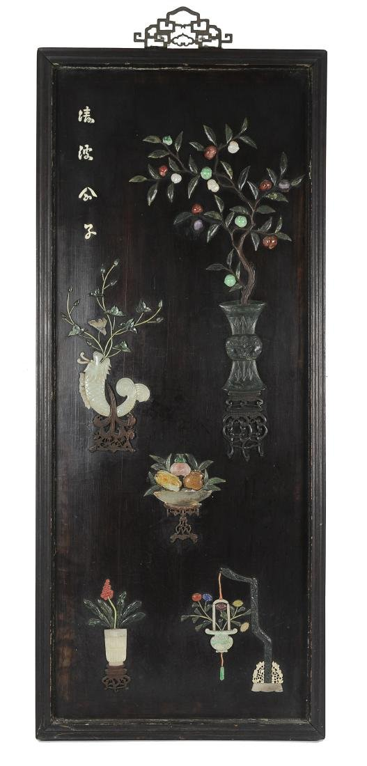 Wooden Panel Inlaid with Jade, 19th Century