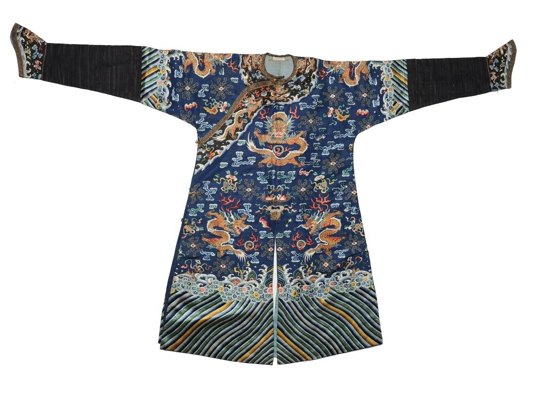 Blue Embroidered Dragon Robe, 19th Century