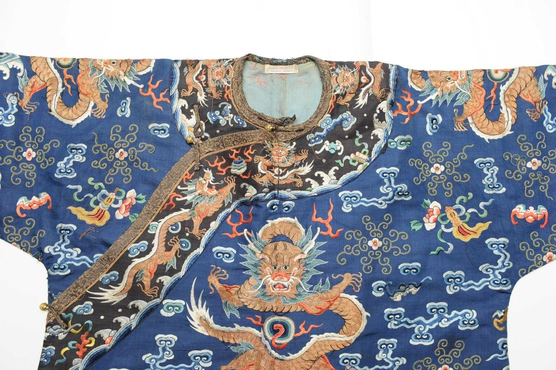 Blue Embroidered Dragon Robe, 19th Century - 2