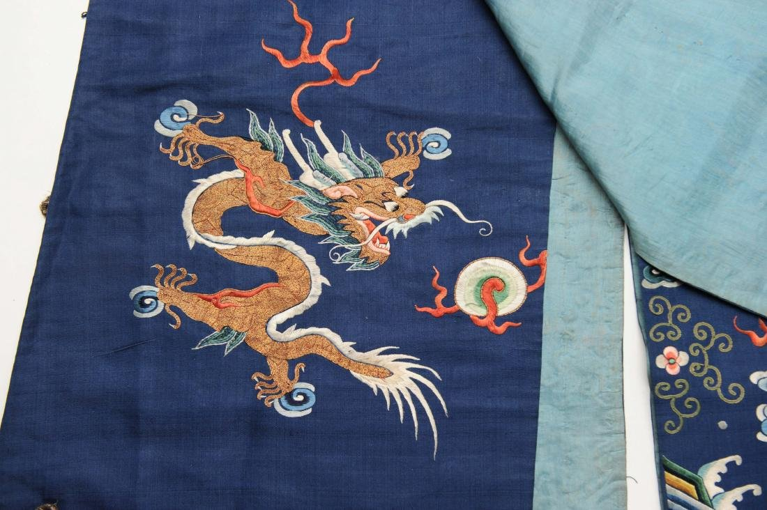 Blue Embroidered Dragon Robe, 19th Century - 4
