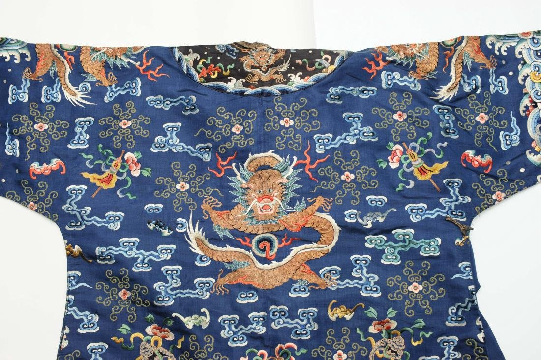 Blue Embroidered Dragon Robe, 19th Century - 5
