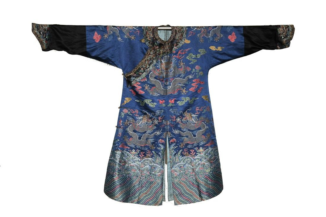 Blue Ground Dragon Robe, 19th Century