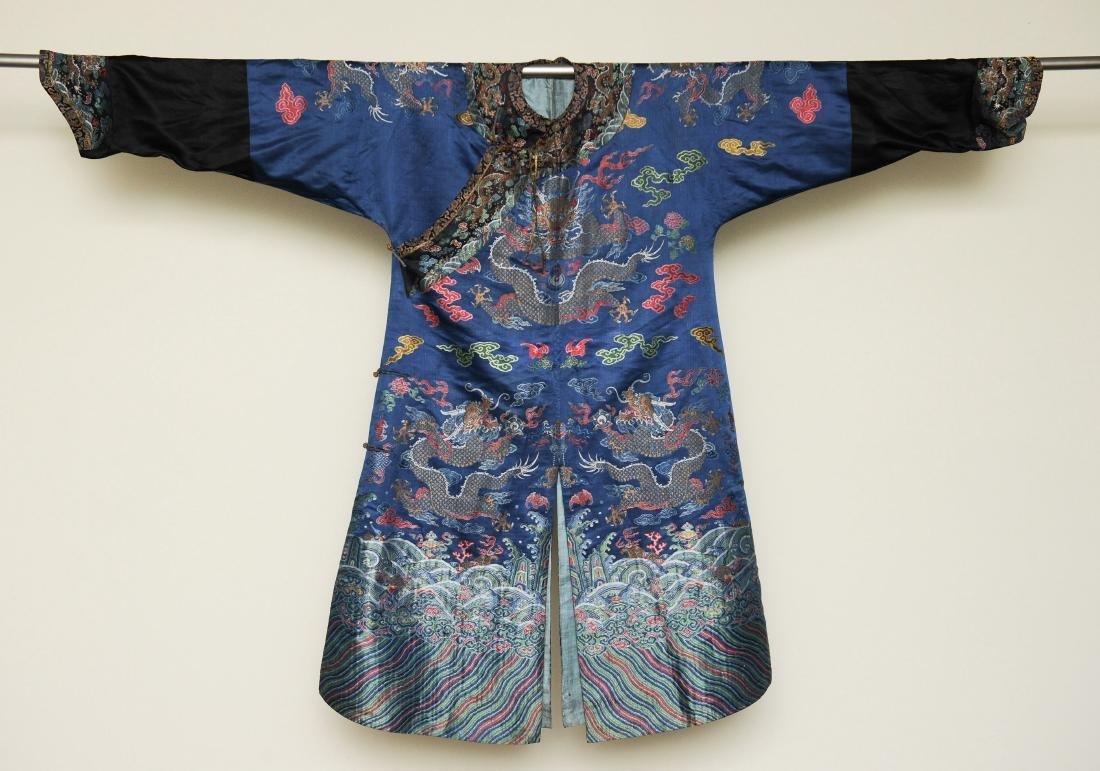 Blue Ground Dragon Robe, 19th Century - 2