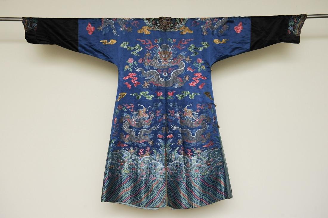 Blue Ground Dragon Robe, 19th Century - 7