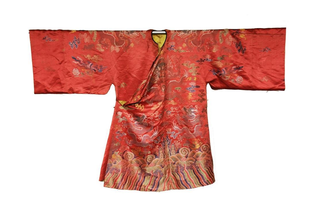 Red Ground Dragon Robe, 19th Century