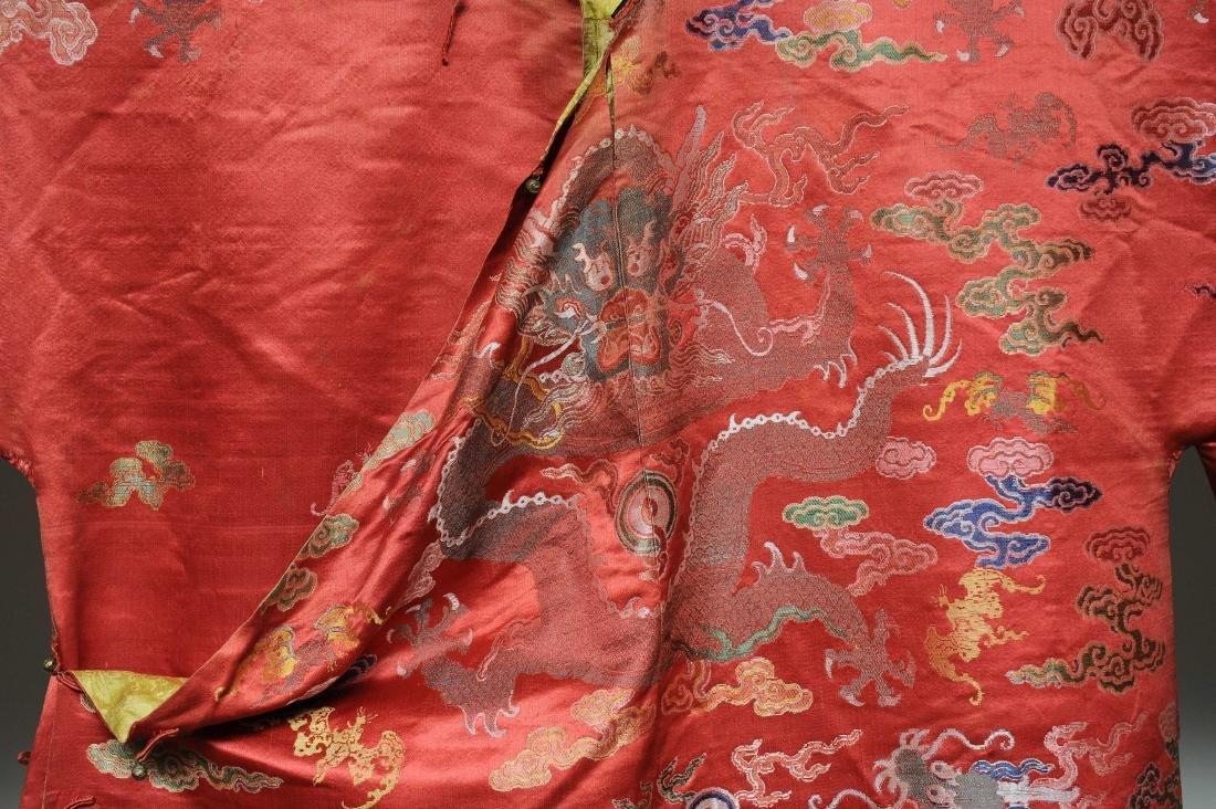 Red Ground Dragon Robe, 19th Century - 2
