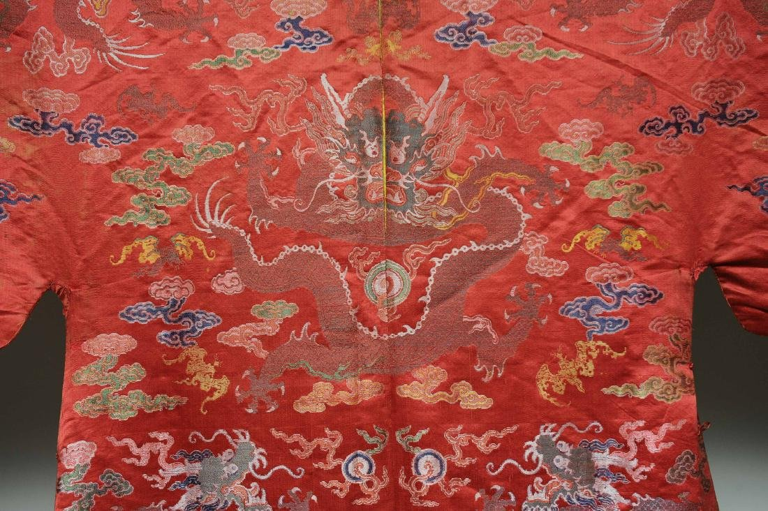Red Ground Dragon Robe, 19th Century - 5