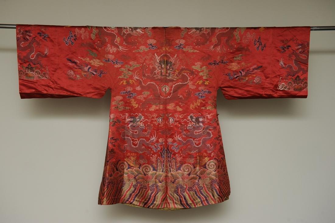 Red Ground Dragon Robe, 19th Century - 7