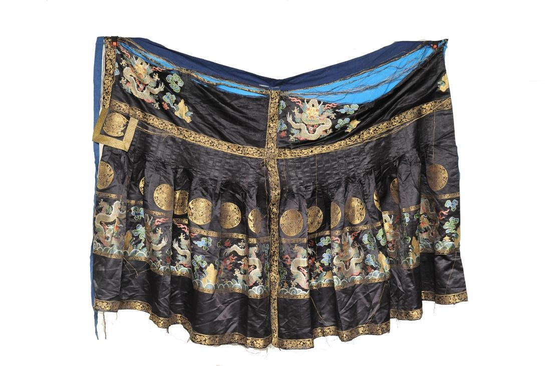 Black Silk Court Dress with  Dragons, 18th-19th Century