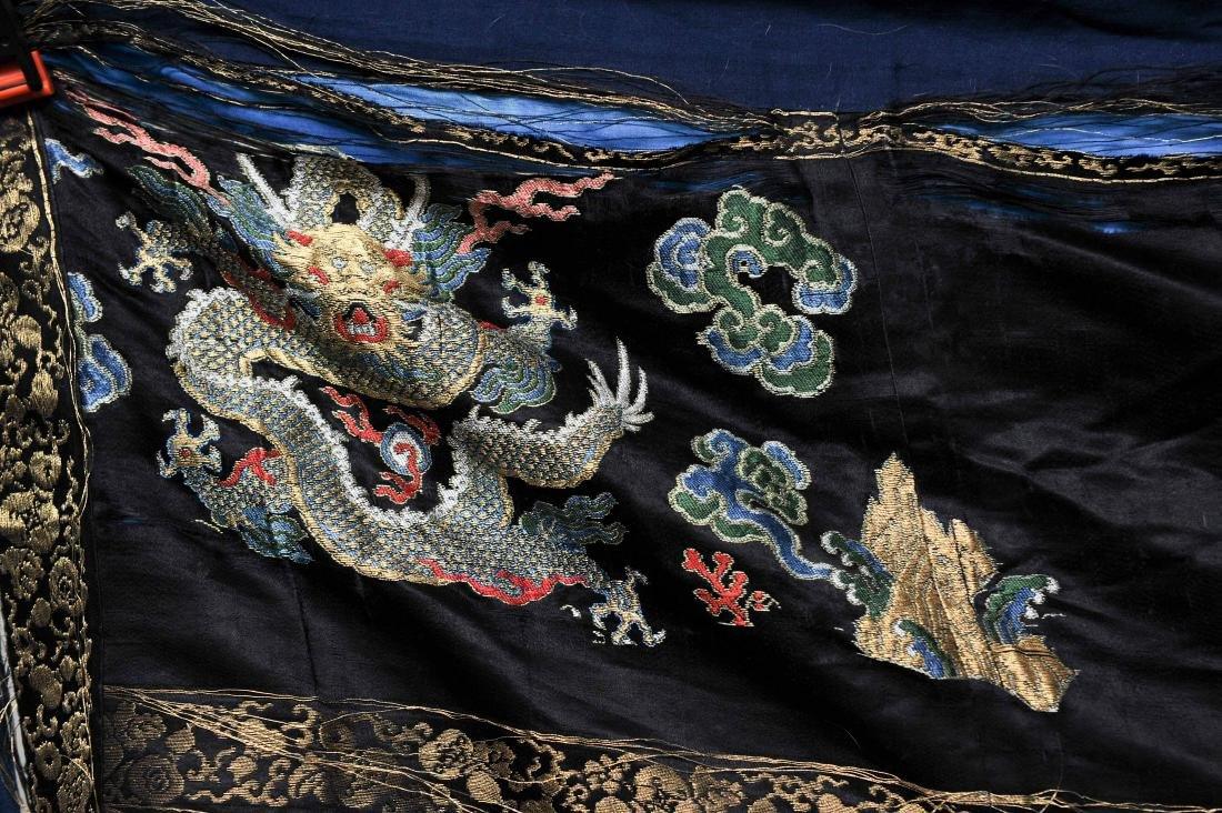 Black Silk Court Dress with  Dragons, 18th-19th Century - 2