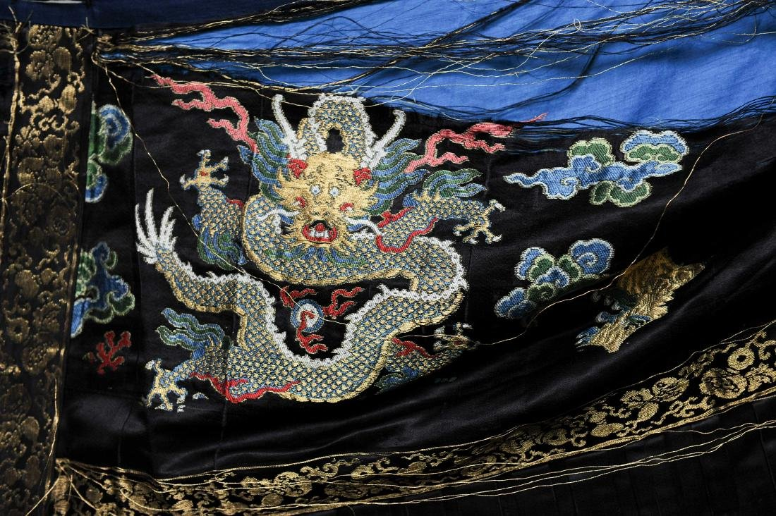 Black Silk Court Dress with  Dragons, 18th-19th Century - 3