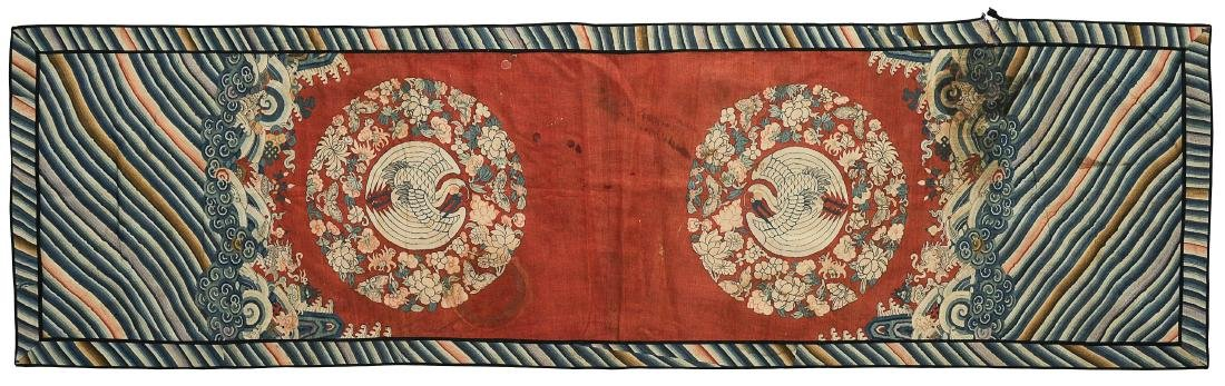 Double Crane Silk Panel, 18th - 19th Century