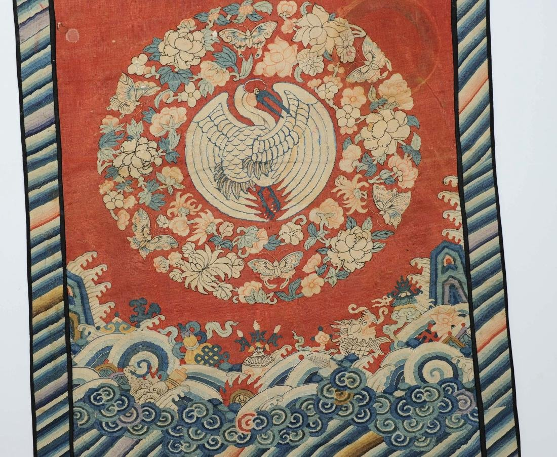 Double Crane Silk Panel, 18th - 19th Century - 2