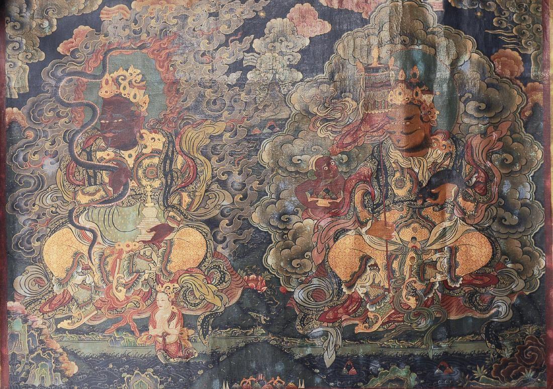Pair of Thangkas of Guardian Kings