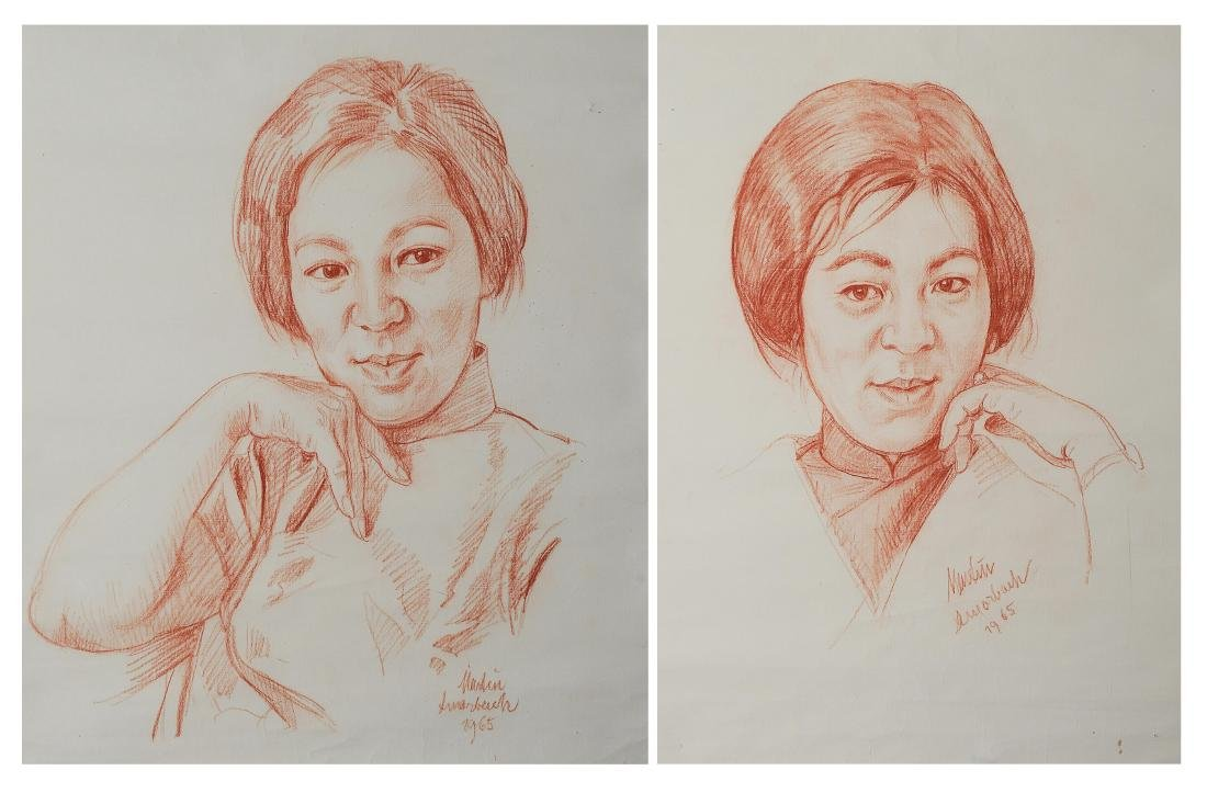 Two Sketched Portraits, Tian Manshi (1926 - )