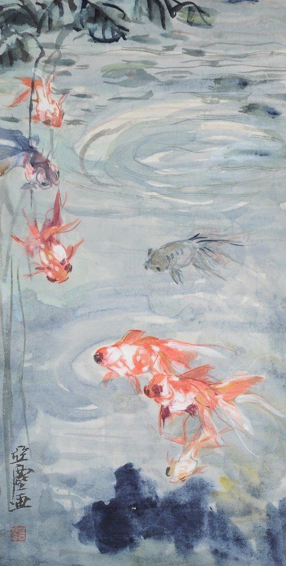 Painting of 7 Goldfish, Wang Yachen (1894 - 1983)